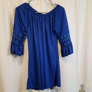 Blue crochet flutter sleeve dress